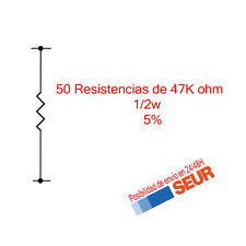 50X Resistencias Pelicula metalica 47K Ohm 1/2W  5%