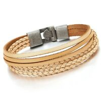 Multi-strand Beige Brown Braided Leather Wrap Bracelet for Men Women Wristband