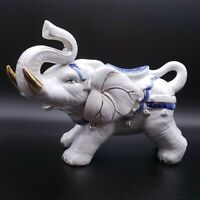 Vintage Cobalt White Ceramic Standing Lucky Raised Trunk Elephant Figurine
