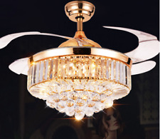 """42"""" Crystal Retractable Acrylic Blade Ceiling Fan Light with  Remote Control"""