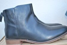 DUNE BLACK LEATHER ANKLE BOOTS SIZE UK 8