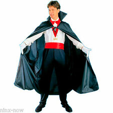 "Dracula Vampire Cape Black Polyester Taffeta 56"" 142cm Long with stand up collar"