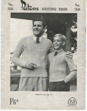 Vintage 1940s PATONS Knitting Pattern Book 368  MENS FASHION ~ JUMPERS CARDIGAN
