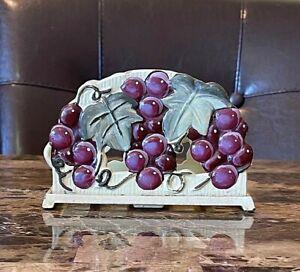 Vintage 2004 Cast Iron Napkin Holder Grape Design