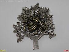 Steampunk broche insignia con Pin Bronce miel Bumble Bee Plata Árbol Manchester
