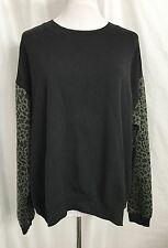 Forever 21 French Terry Top Sweatshirt Black Animal Print Sleeves size Large