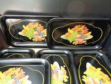 "Vintage Black Metal Trays With Lovely Fruit Designs Set of 6 14 1/2"" x 9"" VGUC"