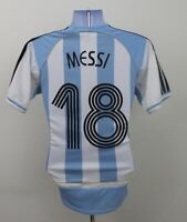 Lionel Messi #18 Argentina Adidas Home Football Shirt Jersey 2007-2009 (XS)