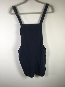 Mossimo Womens navy blue pinafore romper size 12 cotton linen W33 inch