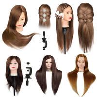 100% Real Human Hair Salon Hairdressing Training head Mannequin Doll+Clamp Muti