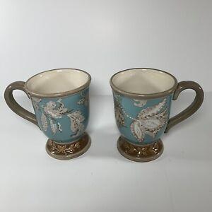 2 Raymond Waites Belle Isle Footed Mugs Light Blue Beige Floral