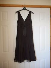 NWOT TED BAKER Dark Chocolate Brown Silk Dress Size 3 approx 12 Xmas Party