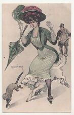 Künstler Ak Hund läuft erotische Dame unterm Rock vintage Erotik um 1910 !