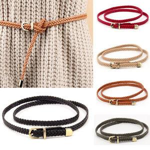 Women Classic Bronze Buckle Braided Belt Faux Leather Skinny Dress Plaited Belt