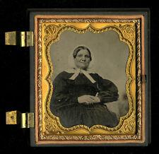 c1856 Ambrotype Older Woman White Bonnet, 1/2 Union Case