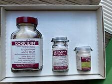 Vintage Coricidin Glass Medicine Bottle Set, Duane Allman Slide Guitar Player