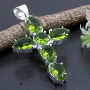 "925 Sterling Silver Green Peridot Gemstone Handmade Jewelry Cross Pendant S-2"""