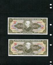2 Brazil Five Cruzeiros Banknotes