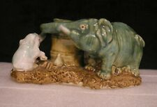 Vintage Fisherman's Fortune Pottery Mamma & Baby Elephant Double Vase