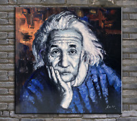 oil painting, palette knife painting ,original portrait painting Albert Einstein