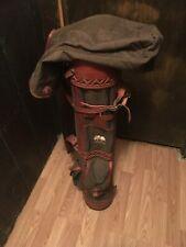 vintage belding golf bag brown leather and cloth