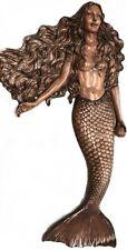 """56"""" Wood Look Large Wall Mermaid Sculpture Hanging Mount Brown Nautical Figure"""