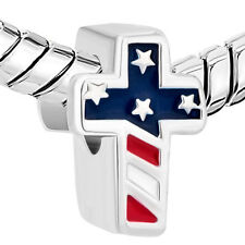 American Flag Cross Religious Charm Jewelry Beads Fit European Compatible Charm