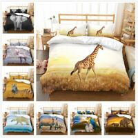 3D Animal Bedding Set Elephant Giraffe Zebra Duvet Cover Pillowcase Quilt Cover