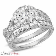 2.30 CT Simulated Round Cut Halo Bridal Engagement Ring band set 14k White Gold