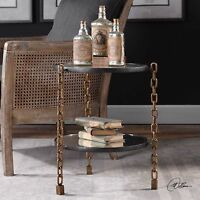 NEW AGED GOLD CHAIN IRON LEGS ROUND GLASS TOP ACCENT END TABLE MIRROR SHELF