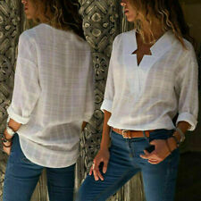 Womens Loose V Neck Linen T-shirt Ladies Long Sleeve Casual Cotton Tops Blouse