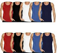 3 x Mens Plain Vest Multi Pack Sports Fitness Gym Cotton Summer T Shirt Tank Top
