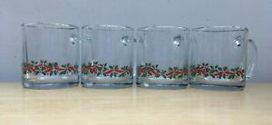 Vintage 4 LIBBEY CHRISTMAS MUGS Coffee Cups w/ Holly and Ribbon Gold Rim Arbys