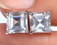 Princess Cut Earring 4.00 Ct Diamond Earring 18K White Gold Single Stone Stud