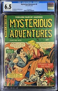 MYSTERIOUS ADVENTURES #8-CGC 6.5 ow/w GGA, Skeletons- Hollingsworth Art- 1952