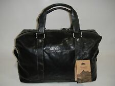NEW JACK GEORGES VOYAGER COLLECTION DUFFLE BAG BLACK GENUINE LEATHER 7319