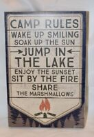 Primitives By Kathy CAMP RULES Box Sign Cabin Lake House Decor Wood