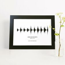 Personalised Heartbeat Sound Wave Message Print Baby Shower Gift New Born