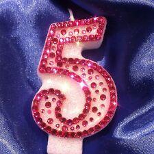 Rosa número cinco 5 Cumpleaños Vela Diamanté princesa de fiesta Freepost