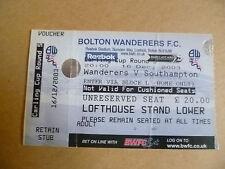 Ticket 2003 BOLTON WANDERERS v SOUTHAMPTON, 16 Dec (Carling CUP 3rd RD)