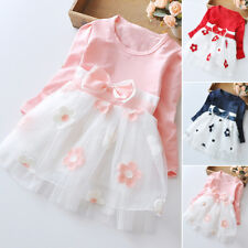Baby Girls Long Sleeve Kids Tulle Tutu Party Wedding Dress Princess Clothes UK