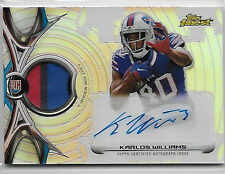 """2015 TOPPS FINEST KARLOS WILLIAMS ROOKIE AUTO 3 COLOR PATCH """"BILLS"""""""