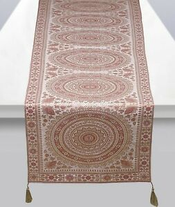Indian Mandala Party 6 Ft Table Cover White Brocade Satin Tassels Table Runner
