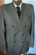 """Men's VTG 70-80's 2 Pc SUIT Double Breast WORSTED TEX Wool 40S 34""""W X 29"""" Inseam"""