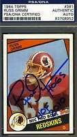 Russ Grimm Rookie Psa/dna Signed 1984 Topps Authenticated Autograph