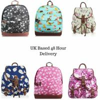 Women's Canvas Rucksack Girls Printed Backpack Back to School Bag Dog Cat Print