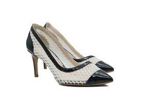 LucyToni Two Tone UK Designed Navy White Mesh Net Mid Heel Court Shoes