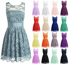 Mini Short Lace Prom Bridesmaid Dresses Plus size Wedding Party Homecoming Gown