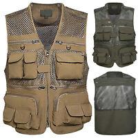 Mens Fishing Vest Mesh Breathable Camouflage Waistcoat Safari Photographer Coat