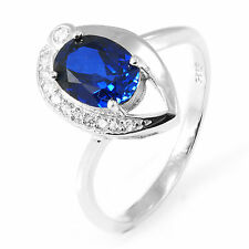 1.5ct Oval Luxury Sapphire & Cubic Zirconia Pure Sterling Silver Ring Size 6
